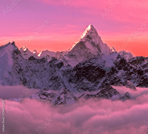 Greatness of nature concept. Majestic Ama Dablam peak (6856 m) at sunrise. Nepal, Himalayas