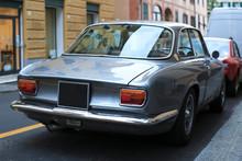Beautiful Gray Retro Car Parke...