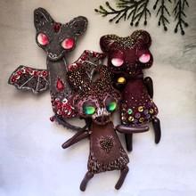Christmas Handmade Ornaments. Grey Bat, Brown Deer And Red Marsala Mouse.
