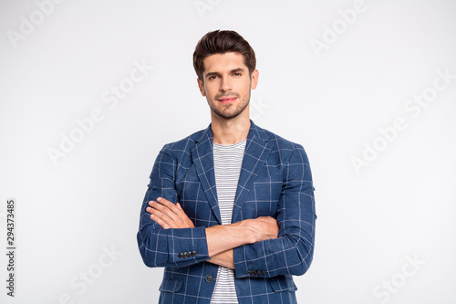 Photo Portrait of pensive worker cross hands wear plaid blazer jacket isolated over wh