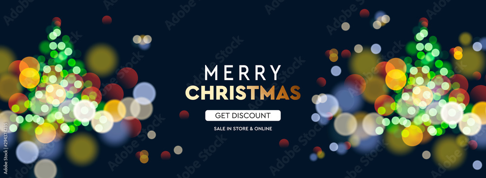 Fototapeta 2020 New Year. Christmas tree sparkle blur bokeh effect horizontal background . Dark Xmas backdrop. Text Merry Christmas. Vector illustration for web banners invitation poster.