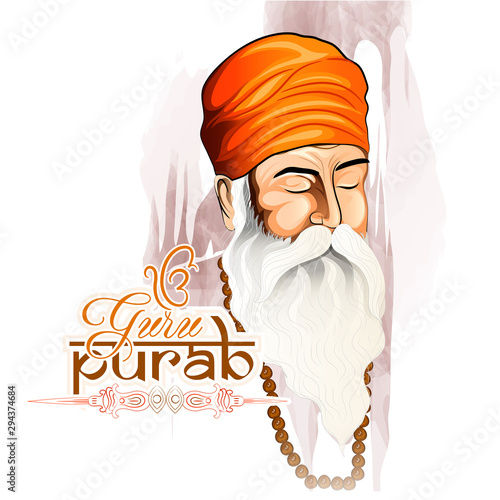 Fotografie, Tablou Guillustration of Happy Gurpurab, Guru Nanak Jayanti festival of Sikh celebratio