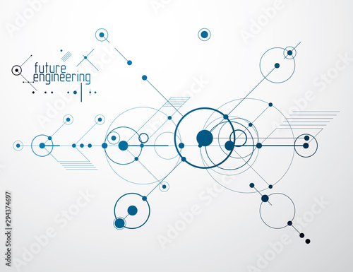 Fotografiet  Engineering technology vector wallpaper made with circles and lines