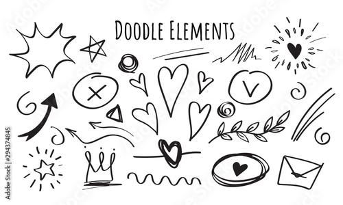 Photo Set of hand drawn Doodle elements, black on white background