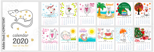 Vector calendar 2020 with Cute Rat. The Chinese calendar 2020 for children with illustration of the main European Holidays