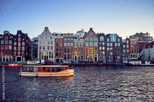 View of the canals  in Amsterdam. Netherlands..