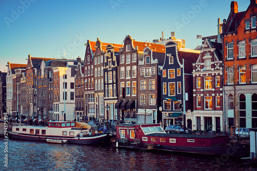 Boathouses and old dancing houses in Amsterdam