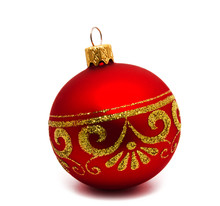 Christmas Decoration Red Ball  Isolated On A White