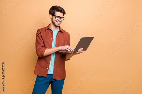 Fotografia  Portrait of his he nice attractive cheerful cheery successful smart clever intel