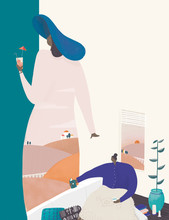 Illustration Of Women With Drink And Reading Book