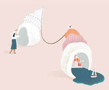 Illustration Of Woman With Seashells On Beach