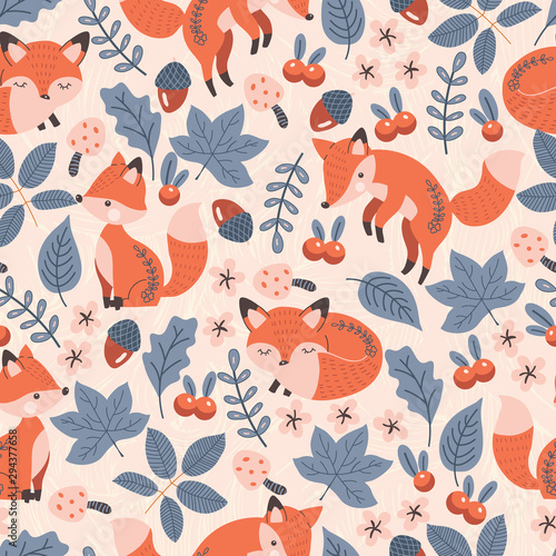 plakat Cute Red Fox with Natural Elements Vector Seamless Pattern
