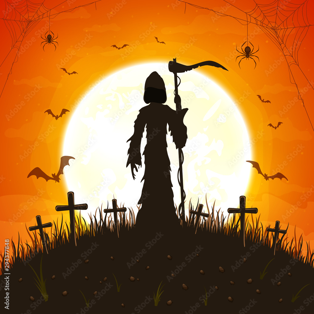 Fototapeta Dark Silhouette with Scythe on Orange Background