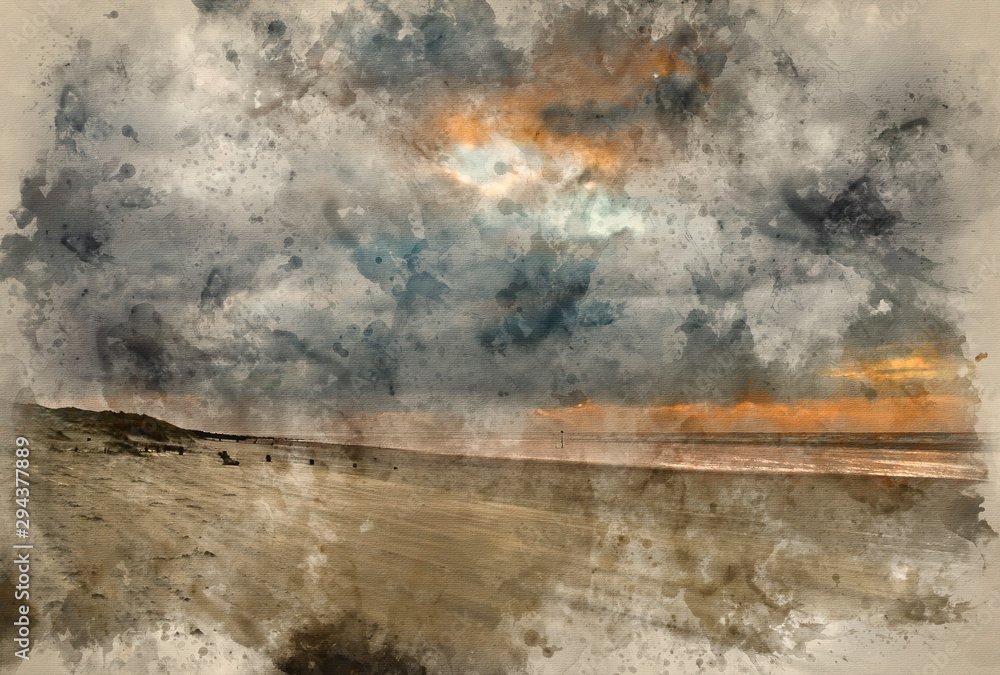Fototapeta Digital watercolor painting of Stunning Winter sunrise over West Wittering beach in Sussex England