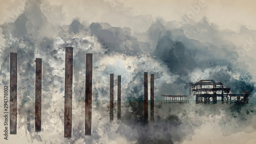 Foto auf Gartenposter Dunkelgrau Digital watercolor painting of Landscape image of derelict Victorian West Pier at Brighton in West Sussex with dramatic evening sky