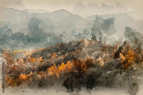 Photo sur Aluminium Vieux rose Digital watercolor painting of Beautiful Autumn Fall landscape image of the view from Catbells in the Lake District