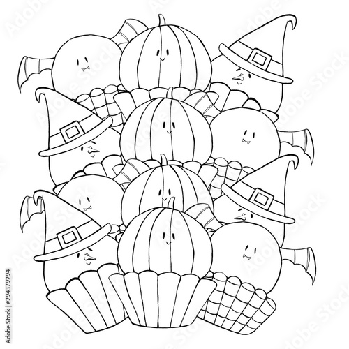black and white illustration, beautiful children's coloring book with Halloween cake set of sweets pumpkins, witches, bats