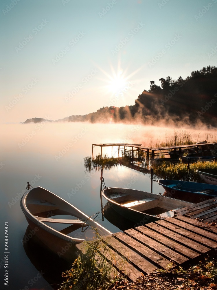 boats in lake at sunset. Wadag Lake w salonie