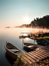 Boats In Lake At Sunset. Wadag...
