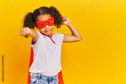 African girl wearing a superhero costume Canvas Print