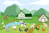Fototapeta Pokój dzieciecy - Cartoon farm animals on the background of the countryside. Vector illustration in flat style: goat, sheep, cow, donkey, horse, pig, chicken, rooster, goose, turkey