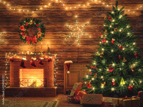 3D Rendering Christmas interior Canvas-taulu
