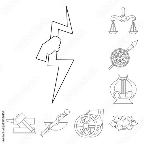 Cuadros en Lienzo Isolated object of mythology and god sign