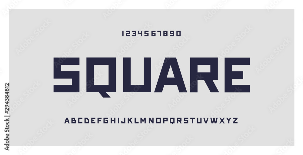 Fototapeta Square typography. Geometric font typeface, numbers and letters set. Creative alphabet. Vector illustration. For technology, gaming, sports and architecture subjects.