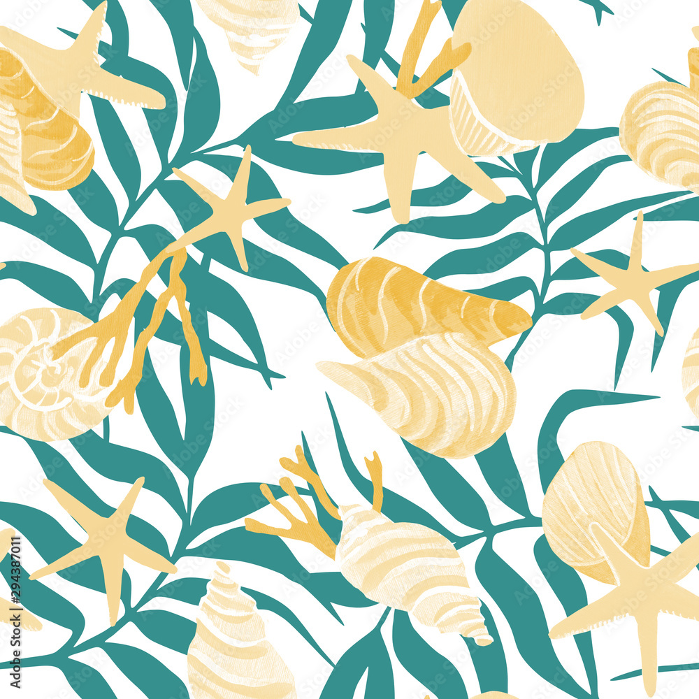 Marine life. palm branches on a white background. Seashells seamless pattern. soft cruise print.