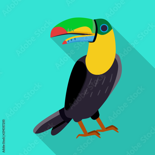 Aluminium Prints Birds, bees Vector illustration of toucan and bird sign. Collection of toucan and jungle stock symbol for web.