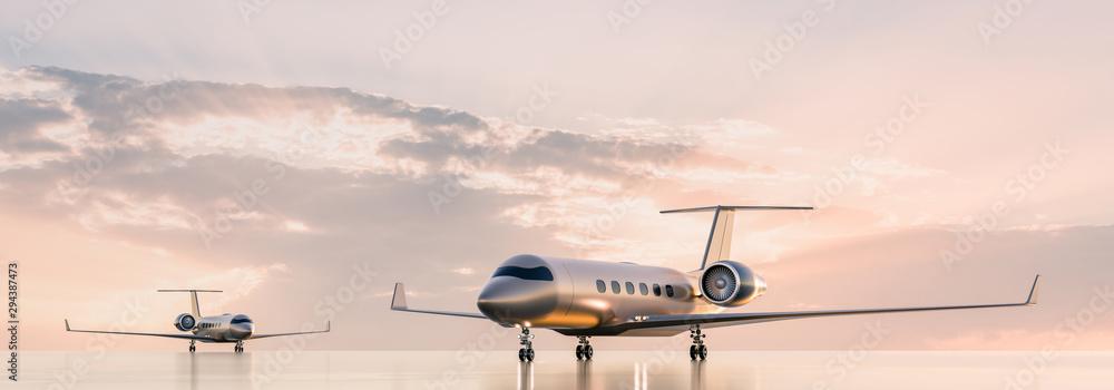 Fototapeta Business class travel concept, luxury private jets at sunset or sunrise. 3D illustration.