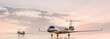 Business class travel concept, luxury private jets at sunset or sunrise. 3D illustration.