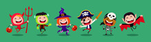 Funny And Cute Kids Vector Cartoon Character. Kids In Halloween Costumes.