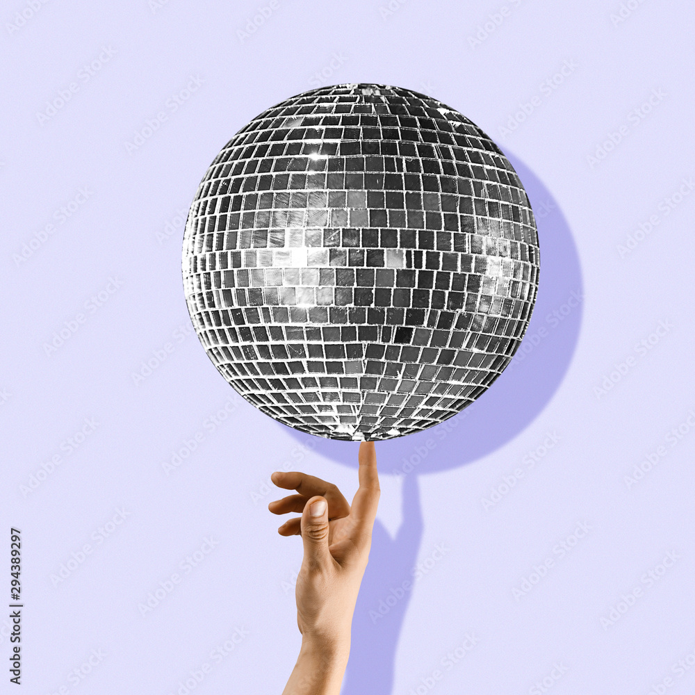 Fototapety, obrazy: An alternative music. Touch the beauty. Hand holding disco ball on purple background. Negative space to insert your text. Modern design. Contemporary colorful and conceptual bright art collage.