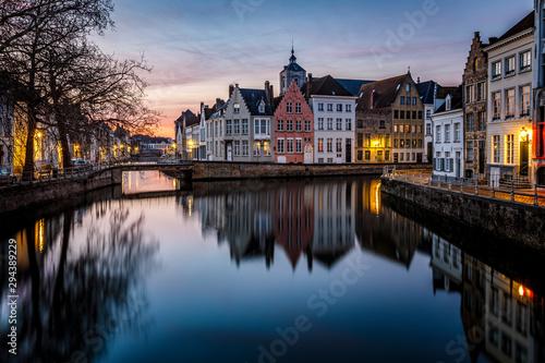 Foto auf Gartenposter Stockholm Sunset in the most tourist places of Bruges, Belgium