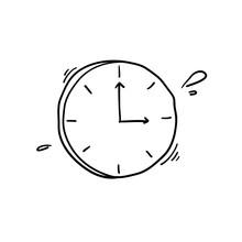 Doodle Clock Icon Illustration...