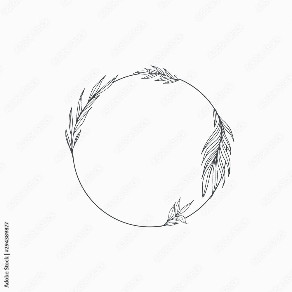 Fototapeta Elegant floral Decorative circle frame Border - For invitations, logos, graphic design. Wedding, celebration.