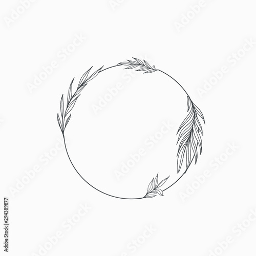 Elegant floral Decorative circle frame Border - For invitations, logos, graphic design Canvas Print