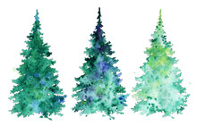 Collection Of Colorful Trees For Creating Greeting Cards. Set Of Christmas Trees. Watercolor Illustration. Plant Element For Design And Creativity.