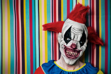 Scary Evil Clown In Front Of A Circus Tent