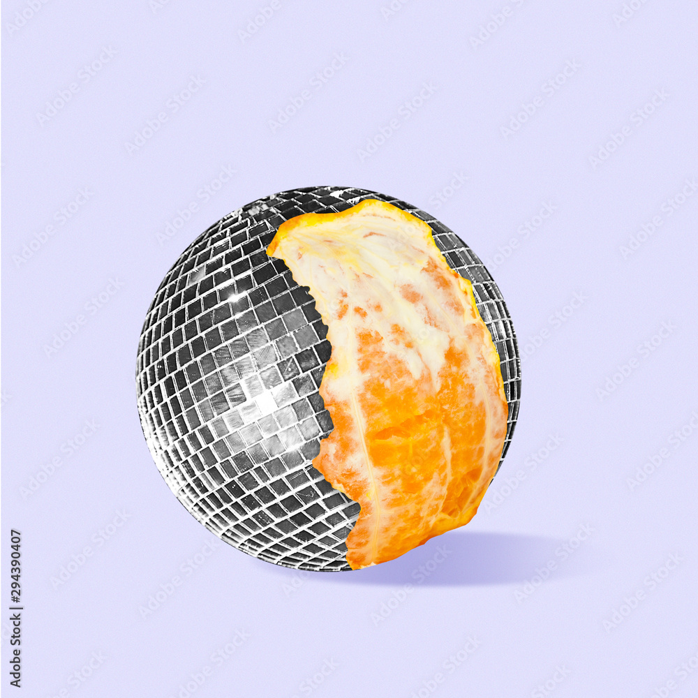 Fototapety, obrazy: Discover new taste of sound and music. Orange as a disco ball on purple background. Negative space to insert your text. Modern design. Contemporary colorful and conceptual bright art collage.