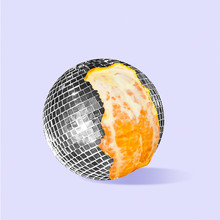 Discover New Taste Of Sound And Music. Orange As A Disco Ball On Purple Background. Negative Space To Insert Your Text. Modern Design. Contemporary Colorful And Conceptual Bright Art Collage.