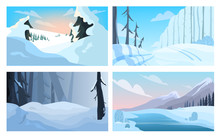 Winter Landscape Set. Snow On ...