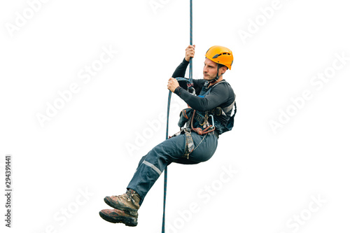 Industrial climber isolated on white background Wallpaper Mural