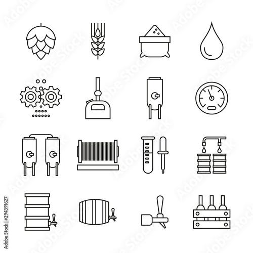 Fényképezés  Beer Brewing Icons Thin Line Set