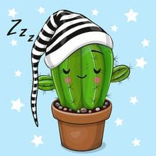 Cartoon Sleeping Cactus On A Blue Background