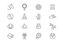 Meditation And Yoga Retreat Thin Line Vector Icons. Editable Stroke