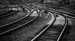 Schienen Gleise Bahnstrecke Nahaufnahme Kurve Weichen schwarz weiß Deutschland Schwellen Signale