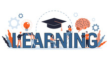 Knowledge And Education Concept. People Learning Online
