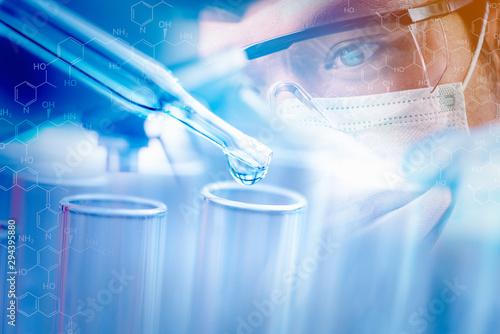 Carta da parati double exposure scientists and scientific equipment In the laboratory,Laboratory research concept